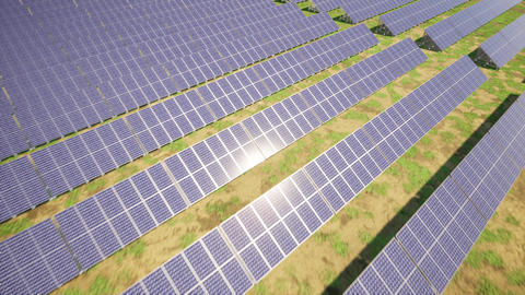 Closeup of colorful panoramic aerial view landscape:solar power plant Animation