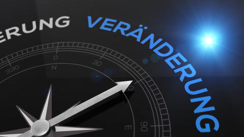 Compass with text - Veraenderung - german word for change - right path, concept Animation