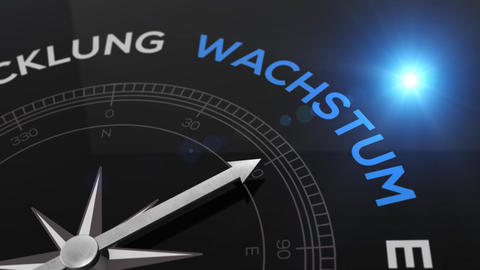 Compass with text - WACHSTUM- german word for GROWTH- right path, concept video Animation