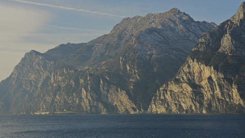 Pan shot of the nothern part of the Lake Garda, Italy. Shot on Red camera Live Action