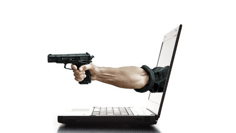 Arm with gun coming out of the screen of a laptop Animation