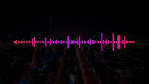 Pink and Purple Electro House Music Sound with Equalizer waves on a dark city Animation