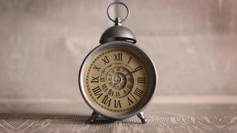 Endless Infinite Elegant Old Clock with Droste Effect Animation