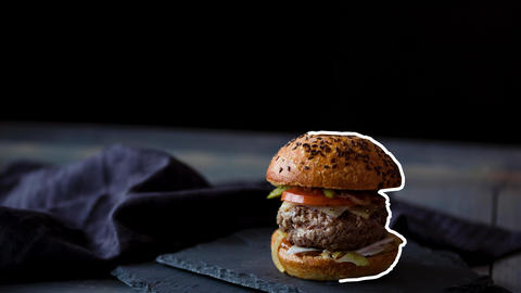 Burger Animation with White Stroke in a black background CG動画素材
