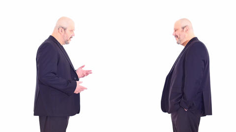 2 same as brothers aged men speaks standing in opposite sides white screen Live Action