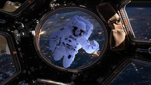 Astronaut moves away from spaceship until disappearing into space Animation