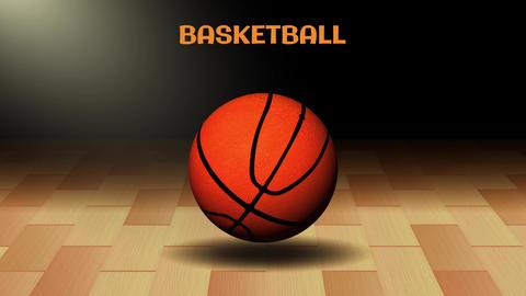 3d Basketball Ball in dark court background in 4k Animation
