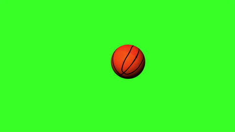 4k Basket Ball Rolling and jumping on a Green Screen Background Animation