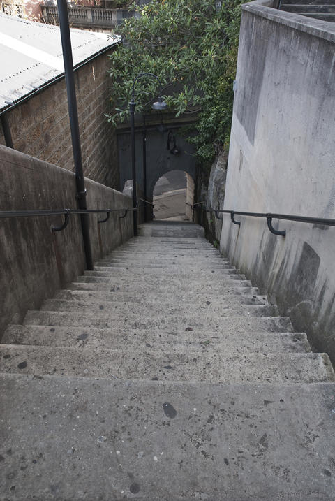 Stairs in the Rocks leading to the Cut Photo