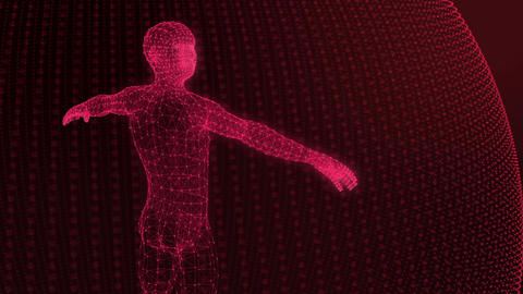 3d model of man geometric model of luminous lines red Animation