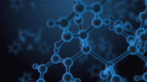Molecule structure under microscope, floating in fluid with blue background Animation