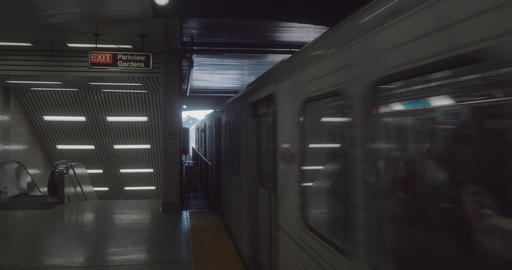 4K Establishing shot of a subway train arriving at the station Footage