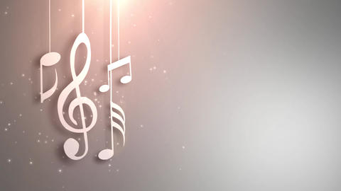 Music notes flowing hanging on strings and falling from the ceiling animation CG動画