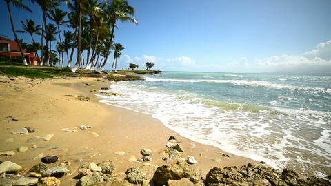 Small waves in bas du Fort shore. Guadeloupe, Caribbean sea Live Action