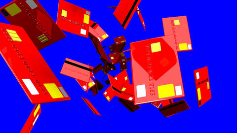 Red Credit cards on blue chroma key Animation