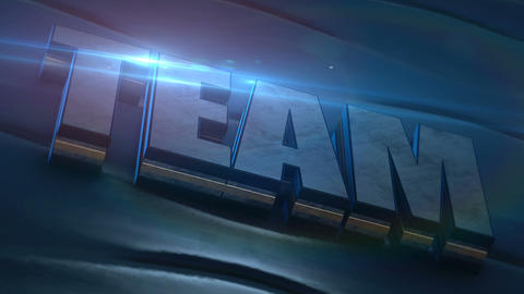 3D text team from metal texture on blue background with blue lens flare. Teamwork, business concept Animation