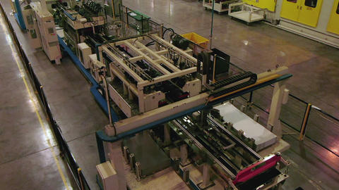 production line and equipment operates with metal sheets Footage