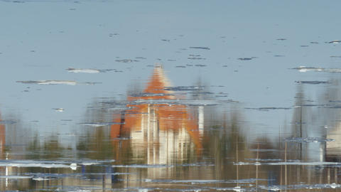 house are reflected in the river Footage