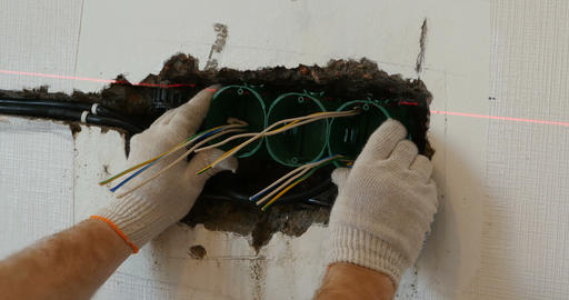 Repair electrical outlet in the wall Footage