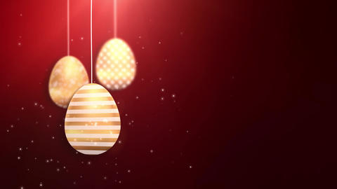 Happy Easter Golden Hanging Easter eggs animated with red background Animation