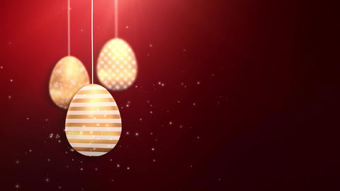 Happy Easter Golden Hanging Easter eggs animated with red… Stock Video Footage