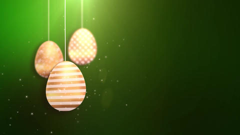 Happy Easter Golden Hanging Easter eggs animated with… Stock Video Footage