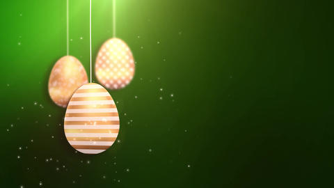 Happy Easter Golden Hanging Easter eggs animated with green background Animation