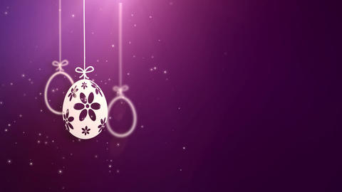 Happy Easter Paper Hanging Easter eggs animated with purple background Animation