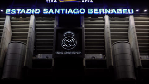 Real Santiago Bernabeu Stadium facade with team logo in Madrid, Spain GIF