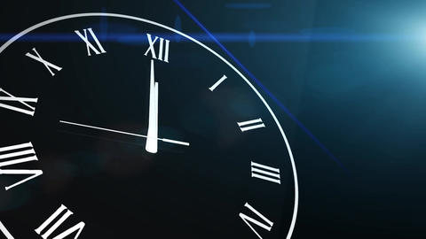 Clock Countdown Ticking Midnight 20 seconds with black background Animation