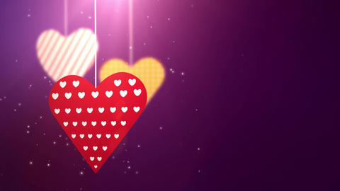 paper valentine hearts falling down hanging on string purple background Animation