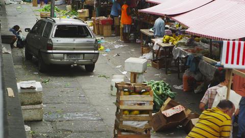 RIO DE JANEIRO, BRAZIL - JUNE 23: Slow motion pan market activities on June 23,  Live Action