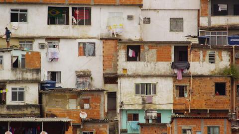 Panning shot of shanties in Rio de Janeiro, Brazil Footage