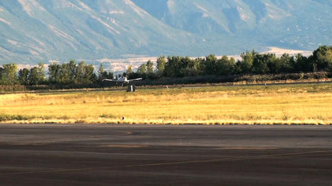 Shot of an airplane landing at the airport in Utah Footage