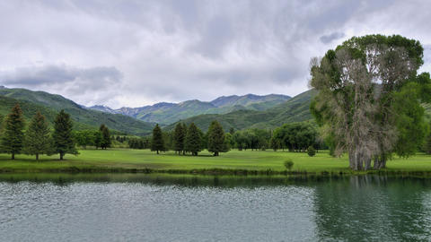 Timelapse shot of a golf course at Wasatch Mountain State Park, Utah Footage