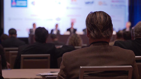Businessman at a conference Footage
