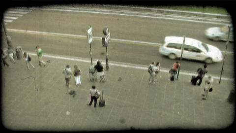 Bus Stop. Vintage stylized video clip Footage