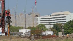 Crane lifting on construction site,Bangkok,Thailand Footage