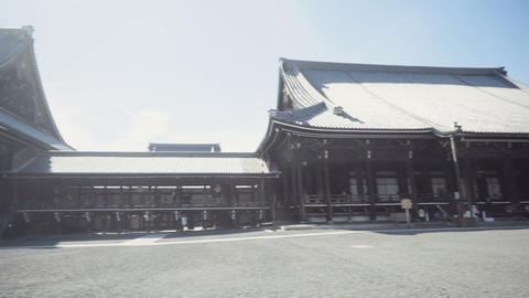 Nishi-Hongan-ji Temple in Kyoto Japan pan right to left Footage