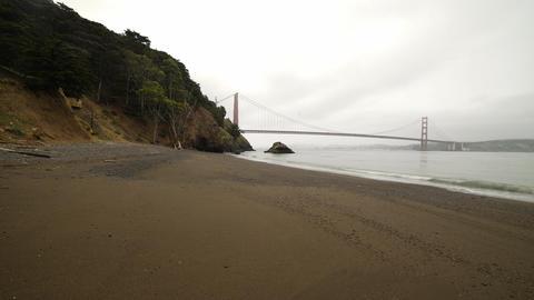 Slow time lapse pan of rainy morning by Golden Gate Bridge Footage