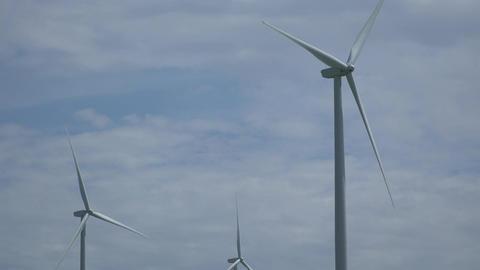 Tight view of three turbines in a Californian wind farm Footage