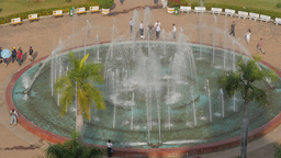 Patuxai Park Fountain From Above ,Vientiane,Laos stock footage