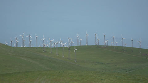 Large group of turbines in a Californian wind farm Footage