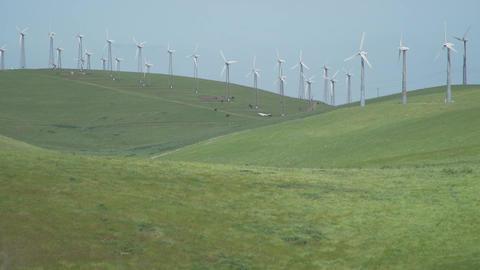 Wind blows the grass near a Californian wind farm Footage