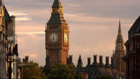 The top of Big Ben seen at sundown Footage