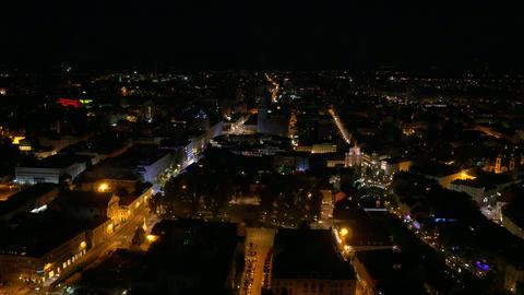 Aerial - Illuminated streets at night Footage