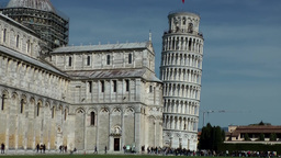Italy Tuscany Tower of Pisa 05 leaning tower beside church nave Footage