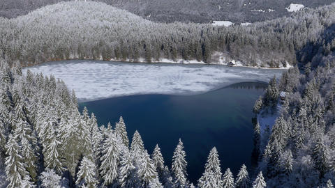Aerial - High Angle View On A Half Frozen Lake stock footage