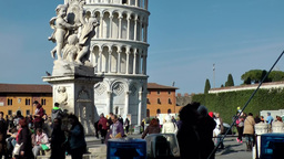 Italy Tuscany Tower of Pisa 22 tourists around the plinth Footage