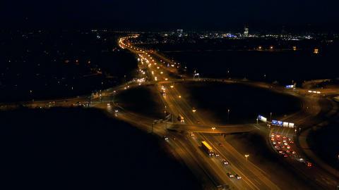 Aerial - Highway at night Footage